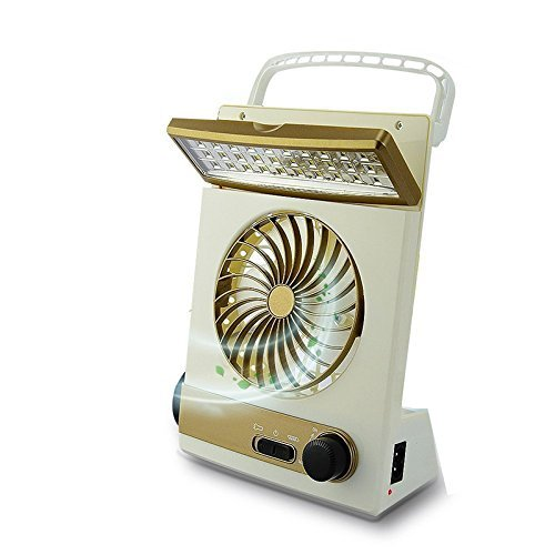 3 in 1 Cooling Fan Camping Lamp- Multi-functional Solar Table Lamp Flashlight Torch with Eye-Care LED Solar Panel Charging for Home Use Outdoor Camping (golden)