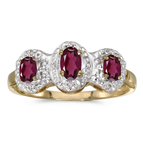 10k Yellow Gold Genuine Red Birthstone Solitaire Oval Rhodolite Garnet And Diamond Three Stone Wedding Engagement Ring - Size 6 (0.63 Cttw.)