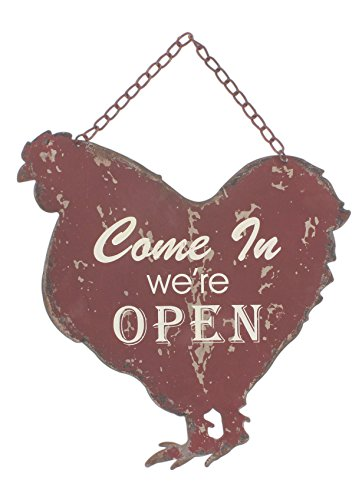 Park Hill Open/Closed Vintage Style Metal Farm Animal Sign (Rooster) (Metal Signs Open)