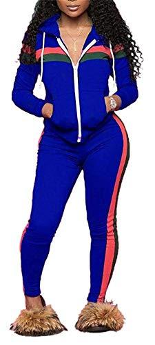 Womens Casual Basic Velour Zip Up Hoodie Sweatsuit Tracksuit Set (3-Blue-XXX-Large)
