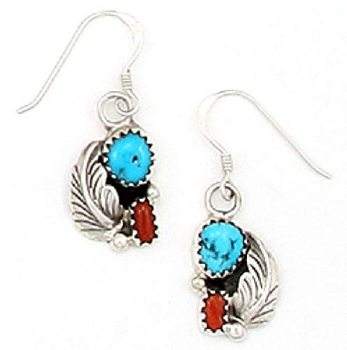 Navajo Turquoise Ring - USA made by Navajo Artist David Morris: Beautiful Sterling-silver Turquoise & Coral Drop-earrings
