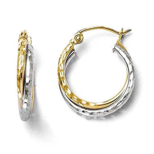 Lex & Lu Leslie's 10k Two-tone Gold D/C Hinged Hoop Earrings-Prime ()