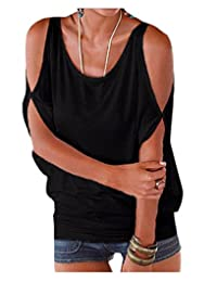Women's Solid Color Cold Shoulder Blouse Oversized Batwing Back Lace-up T-Shirt