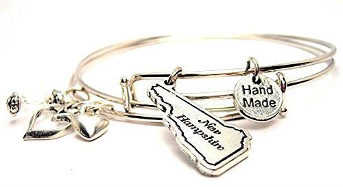 New Hampshire State Expandable Bangle Charm Bracelet