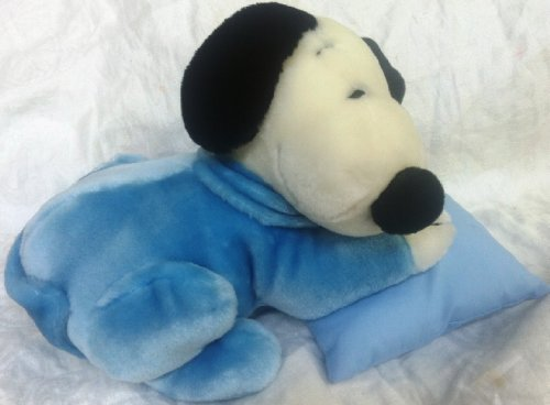 11'' Plush UFS Peanuts Snoopy, Sleeping on a Pillow Blue, Bedtime Naptime Doll Plush Toy by Camp Snoopy by camp snoopy