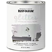 Rust-Oleum 323860 Glitter Interior Wall Paint, Quart, Iridescent Clear