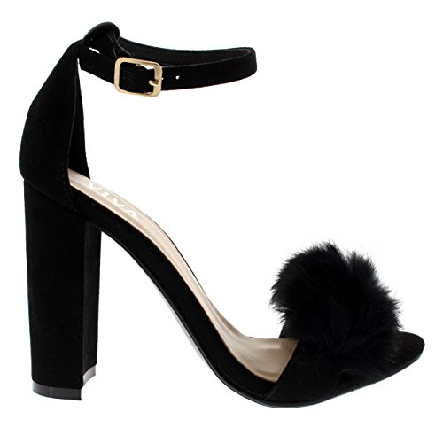 Womens Fluffy Pumps Block Evening High Heel Cut Fashion Heels Black Out Party Viva AwvxpqAd