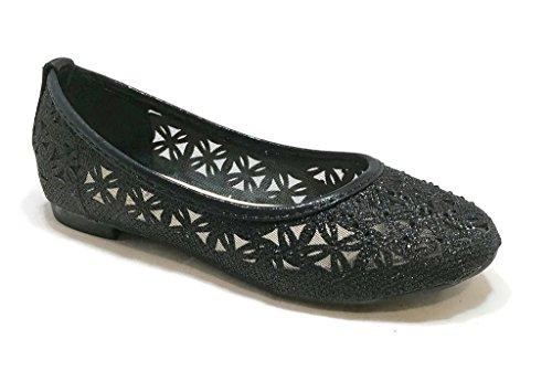 BellaMarie Kids Dress Ballet Flat Slip On Comfortable Ballerina BLACK Synthetic Glitter Sparkle Shoes 12 US Little Kid