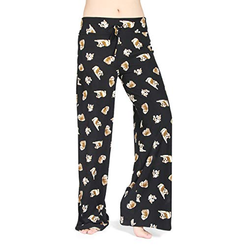 HIGHDAYS Pajama Pants for Women Floral Print Palazzo Pants Comfy Casual Lounge Pants with Wide Leg & Drawstring (L, Black Dog) ()