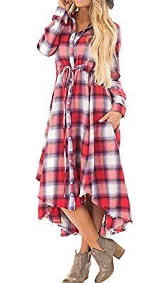 Appyculo Women Long Sleeve Grid Plaid Button Down Tunic Shirt Dresses