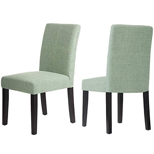 Merax Classic Upholstered Fabric Cushion Seat Dining Chairs with Solid Wood Legs for Living Room Chairs Set of 2 (Mint -