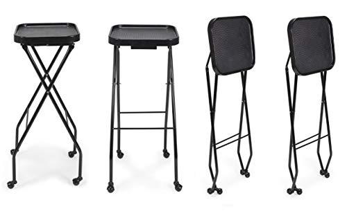 CALEB Fold-A-Way Salon Service Tray BLACK Rolling Service Tray for Barber Shop, Salon Furniture & Equipment, Set of 4