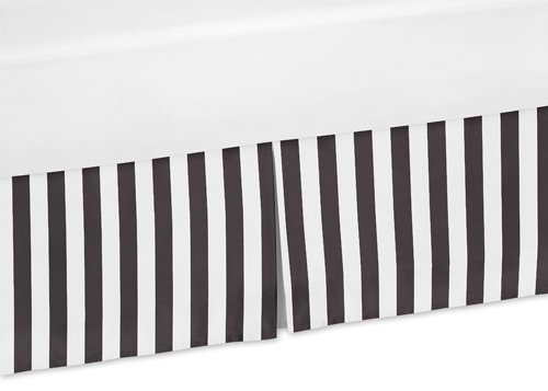 Sweet Jojo Designs Black and White Stripes Crib Bed Skirt Dust Ruffle for Paris Collection Bedding Sets Stripes Crib Skirt