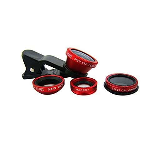 iiMash LQ-008 4 in 1 Universal Clip Lens(Macro+0.67x Wide Angle + Fish eye + Circular Filter/CPL) for Mobile Phone/iPad/Notebook PC - Red by iiMash®