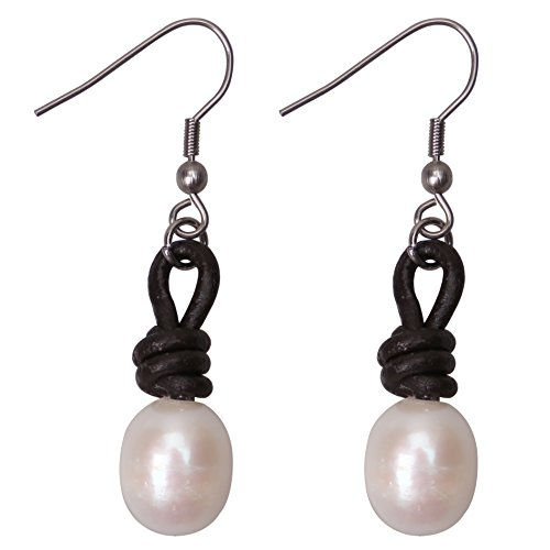 Pearl Drop Earrings Women Stainless Steel Dangling Freshwater Cultured Pearls Leather Jewelry Brown ()