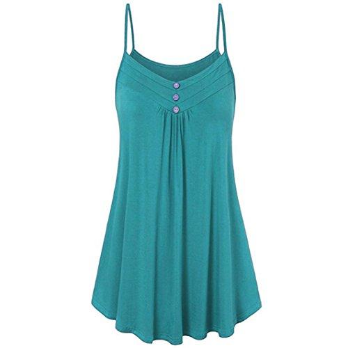 FEITONG Women Summer Loose Button V Neck Cami Tank Tops Vest ()