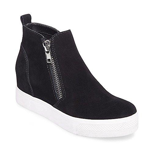 Steve Madden Women's Wedgie Sneaker, Black Suede, 8 M (Suede Women Sneakers)