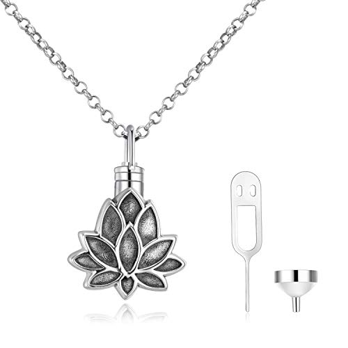 WINNICACA S925 Sterling Silver Urn Necklaces for Ashes Forever in My Heart Cremation Urns Keepsake Necklace Jewelry w Funnel Filler