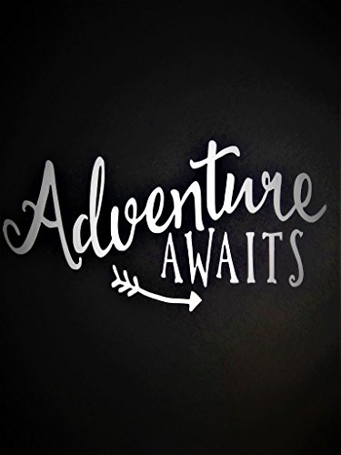 Chase Grace Studio Adventure Awaits Outdoors Hiking Camping Vinyl Decal Sticker|WHITE|Cars Trucks Vans Jeeps SUV Boats Laptops Wall Art|5.75 X 3|CGS443