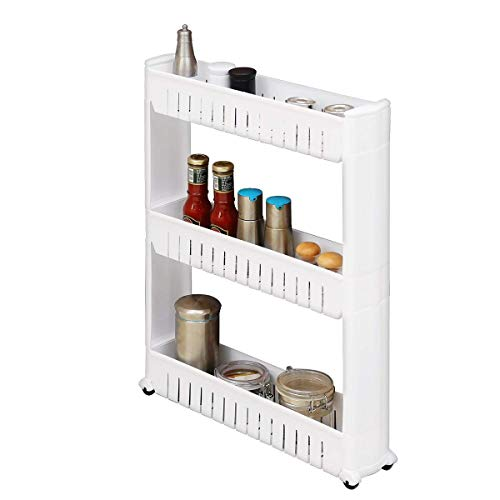 Creatwo Slim Rolling Storage Cart, 3 Tiers Mobile Narrow Kitchen Cart on Wheels for Kitchen and Laundry, White