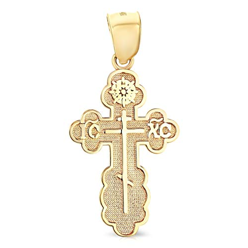 14K Yellow Gold St. Olga Greek Orthodox Baptismal Cross Religious Charm Pendant For Necklace or Chain