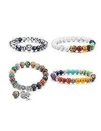 MOWOM 4~6PCS Multicolor Alloy Bracelet Wrist Link Energy Stone Buddha Mala Bead Elastic