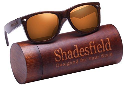 Shadesfield Wayfarer Wood Sunglasses with Polarized Lenses for Men or Women - 100% UV Protection. - Wayfarer Sunglasses Type