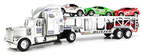 VT-Go-Speed-Champion-Trailer-Friction-Powered-Toy-Truck-w-Trailer-4-Toy-Cars-Colors-May-Vary