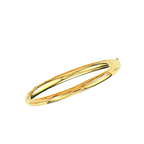 14k Solid Yellow Gold Shiny Bangle Bracelet 5 Mm 7 Inches by Ritastephens