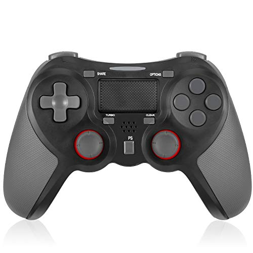 TGJOR PS4 Controller - Bluetooth Gamepad Six Axies DualShock 4 Wireless Controller Compatiable with Playstation 4, Touch Panel Joypad with Dual Vibration(Black)