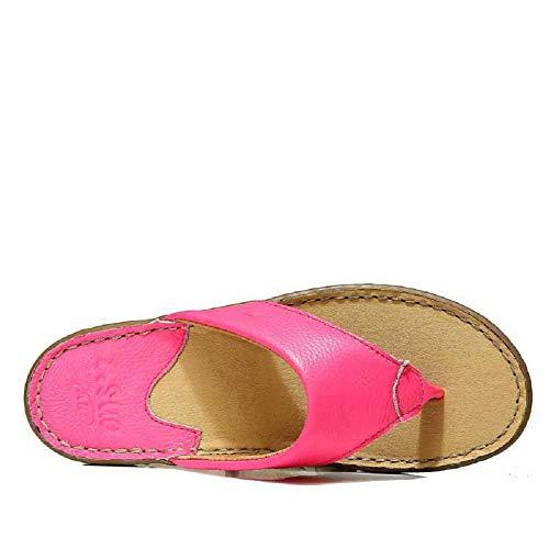 coloré Sandales Qiusa Flops EU Cuir Marron Clip Rose Femmes Doux Plage De Plat Flip 38 Taille Toe wwpBqgP