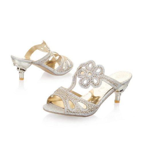 Carol Chaussures Mode Strass Femmes Mi-talon Peep Toe Sandales Pantoufles Argent