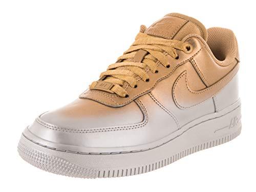 (Nike Women's Air Force 1 '07 LX Metallic Platinum/MTLC Gold Basketball Shoe 9 Women US)