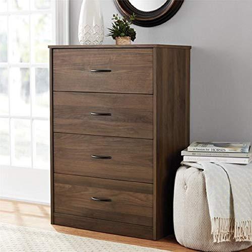 Mainstays 4-Drawer Dresser, (4-Drawer, Canyon Walnut, Handi Wipes) (4-Drawer, Canyon Walnut)