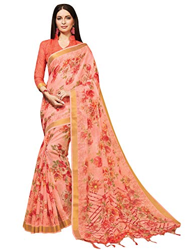 Sarees for Women Linen Silk Digital Print with Silk Boarder Saree l Indian Ethnic Wedding Gift Sari with Unstitched Blouse Peach