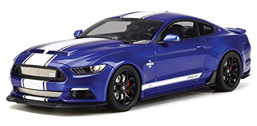 2017 Ford Mustang Shelby Super Snake Deep Impact Blue with White Stripes Limited Edition to 999 Pieces Worldwide 1/18 Model Car by GT Spirit GT204