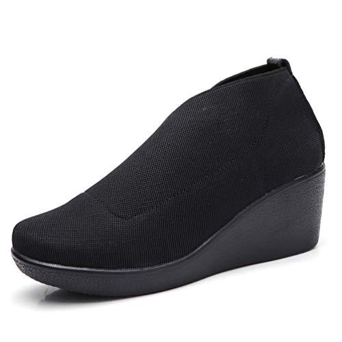 Nero Primavera Slip Mocassini Piattaforma Femal Pelle Piatto in Ginnastica Autunno da Scarpe Casual su Shoes Donne ZaCwqn5q
