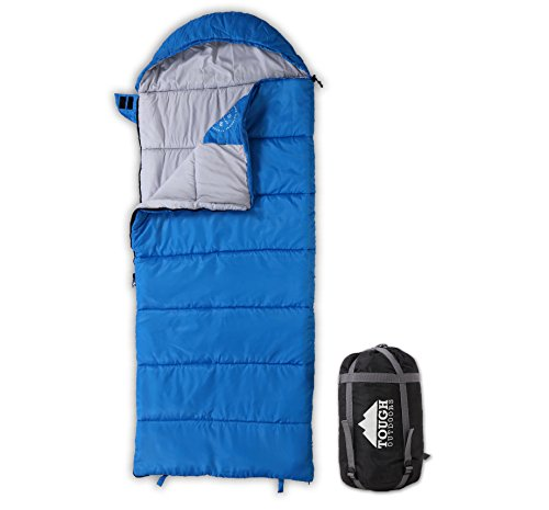 All Season Young Adventurer Hooded Sleeping Bag – Perfect for Youth Camping, Backpacking & Sleepovers. Temperature Range 40-65°F. Fits Kids up to 5'1. Tough Ripstop Waterproof Shell & High-Loft Fill