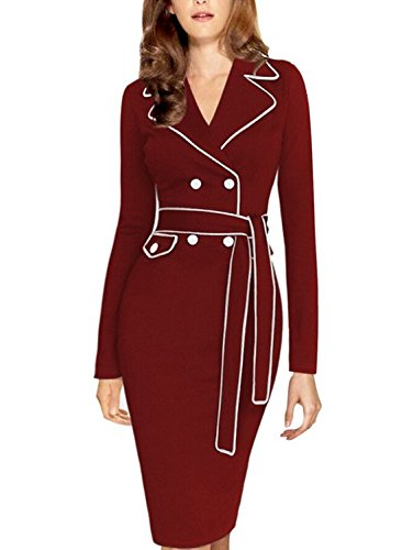 MABELER Womens Colorblock Tunic Fitted Wear to Work Party Pencil Dress