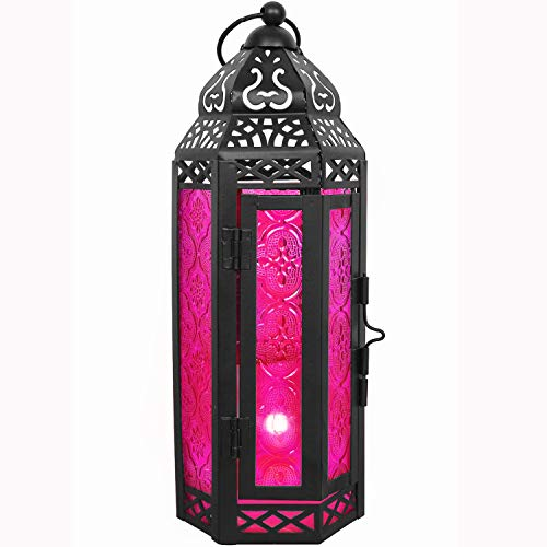 (LIVEDITOR LIGHTING Gifts & Décor Glass Metal Moroccan Candle Holder Hanging Lantern for Patio Indoors/Outdoors Parties and Weddings Décor Lights (Rose))