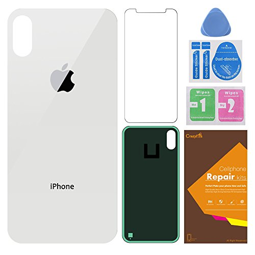 Back Glass Cover Battery Door Replacement Compatible iPhone X,Back Housing Cover Battery Door Repair Tool Kit and Adhesive Tape 5.8 inch(White)
