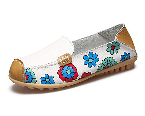KEESKY Women's Floral Print Driving Loafers Leather Slip-on Flat Casual Shoes (9.5 B (M) US, - Print Floral Leather