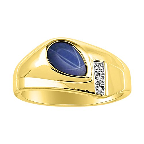 Timeless Pear Shape Blue Star Sapphire & Natural Diamond Ring Yellow Gold Plated Silver .925