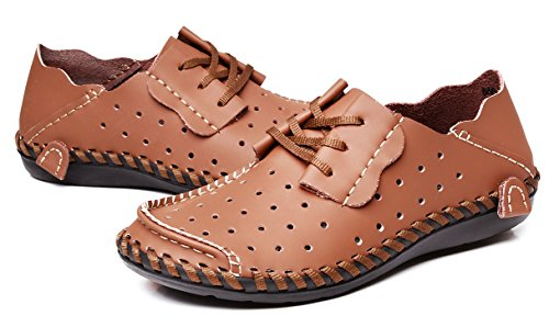 Louechy Mens Achicle Breda Casual Skor Lägenheter Promenadskor Mjukt Läder Loafers Spets-up Driver Skor Brun Punch