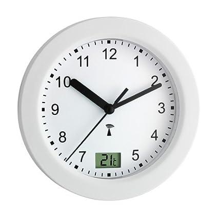 TFA Dostmann Funk Badezimmeruhr, mit Temperaturanzeige, Funkuhr,  feuchtigkeitsgeschütztz, 4 große Saugnäpfe - Befestigung, weiß, 60.3501