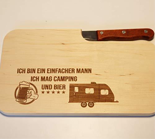 41MFv53k8wL Beschdstoff/Schneidebrett mit Messer/Camping und Bier/Größe 26 x 15 x 12 cm Wohnwagen Motiv