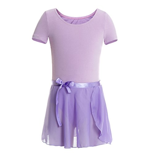 Short Sleeve Unitard (MAGIC TOWN Girls Short Sleeve Leotard Ballet Wrap-Round Skirt Gymnastics Dance Unitard Cotton Tutu Dress(4-6,Purple))