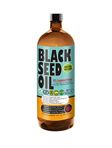Premium Black Seed Oil Cold Pressed - Glass Bottle - 16 oz by Sweet Sunnah Black Cumin Seed Oil from 100% Genuine Nigella Sativa