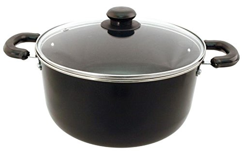 Euro-Ware 406 Traditional Carbon Steel with Non-Stick Coating Dutch Oven Includes Glass Vented Lid, Medium/5 quart, Black