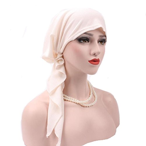 Botrong Women India Muslim Stretch Turban Hat Cotton Hair Loss Head Scarf Wrap (White)